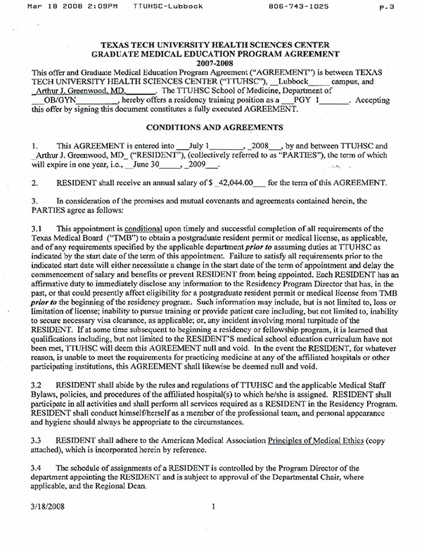 2008 Mar 18 Texas Tech Contract Specifically Prohibited